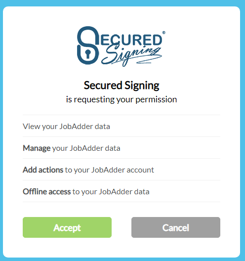 authorize Secured Signing integration permissions